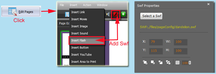 add swf video to flipping page