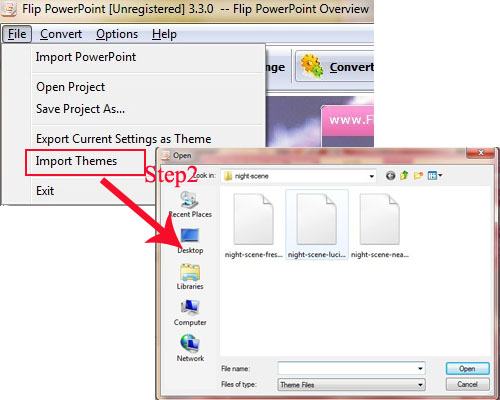 how to import themes to flip book flipbuilder com