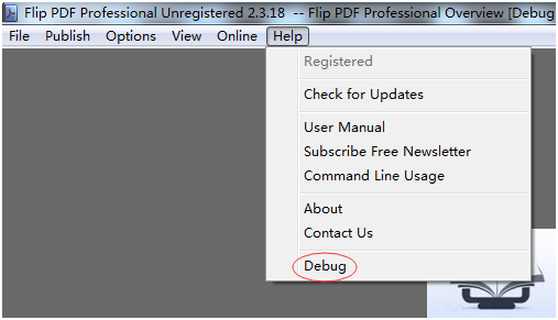 run Flip PDF Professional debug function