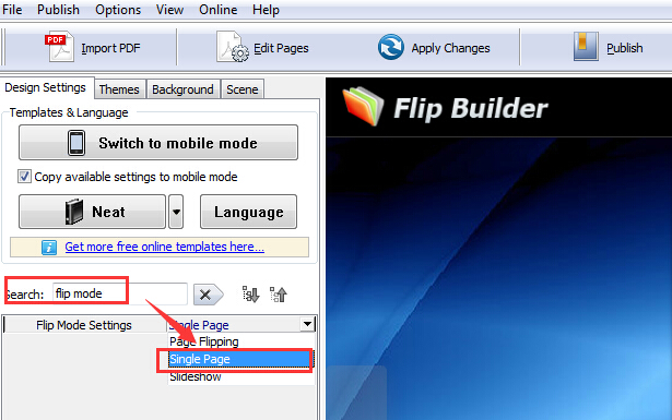 single page flip mode