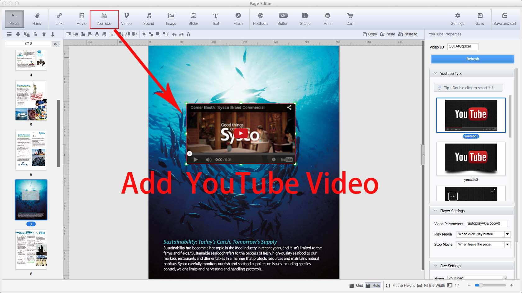 Flip pdf pro for mac convert pdf to digital books with page turn click edit pages at the top left then you can add video including youtube vimeo video audio flash images links text shape button fandeluxe Choice Image