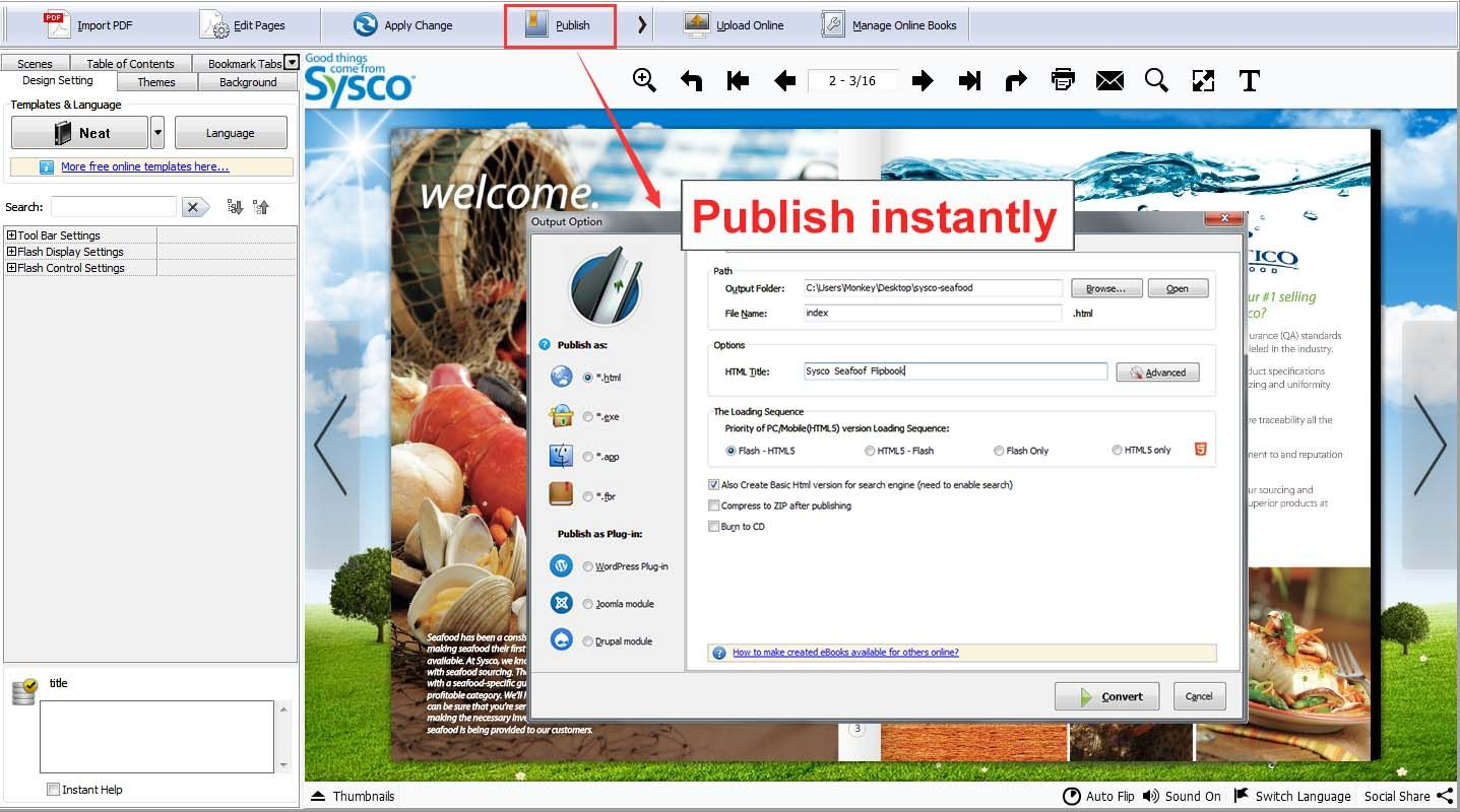 Flip pdf professional convert pdf to flipbook and embed flip pdf pro provides multiple output formats for you including html exe zip mac app mobile version and burn to cd you can publish a flipbook to sciox Gallery