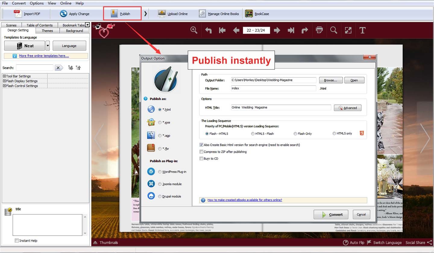 Step3: Output Ebooks Locally Or Publish To Online Directly