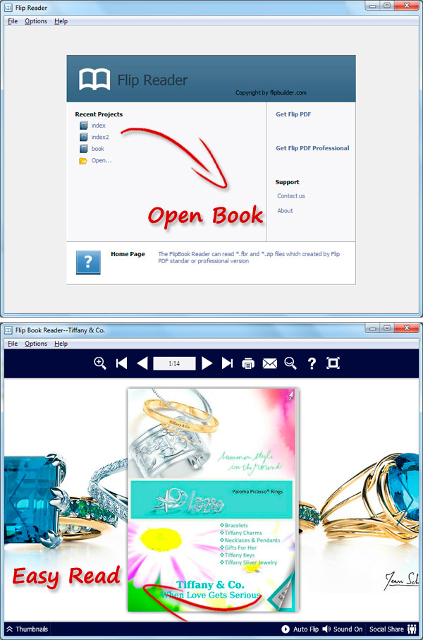 Flip Reader: designed especially for reading eBooks (* fbr