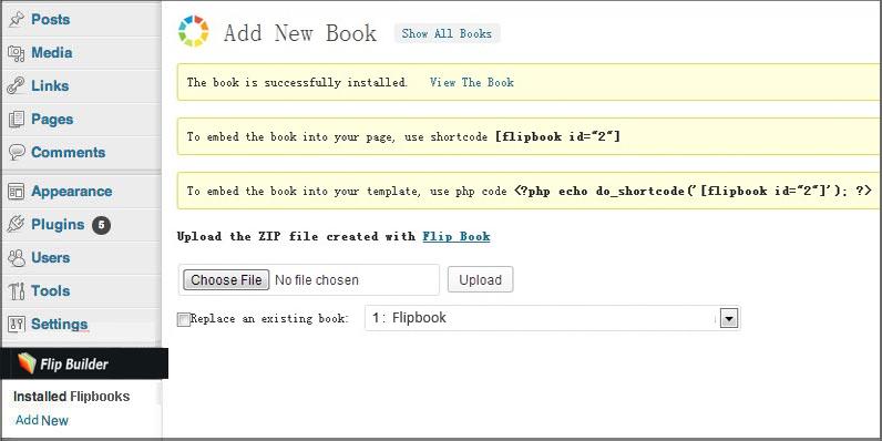 install flipbook wordpress plugin