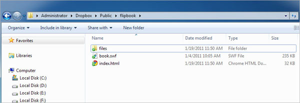 flip upload with dropbox output