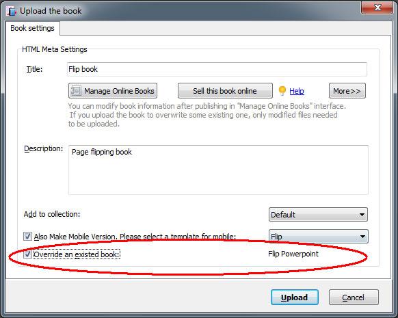 override flipbook without change url