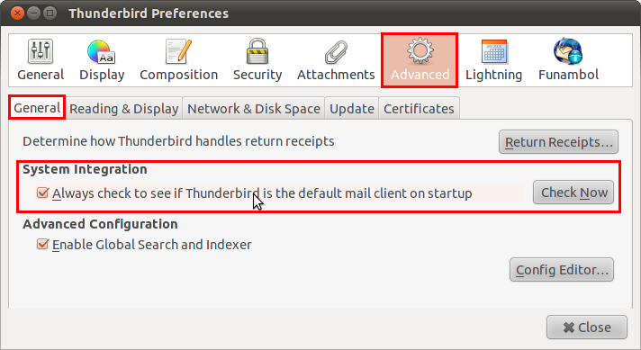 set thunderbird as default mail client