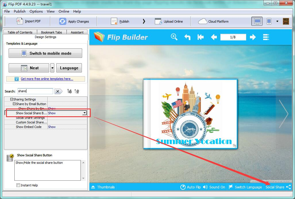 flip 3.3 social share