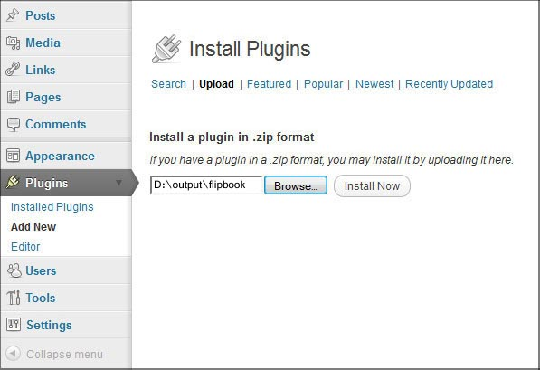 install flipbook wordpress plugin