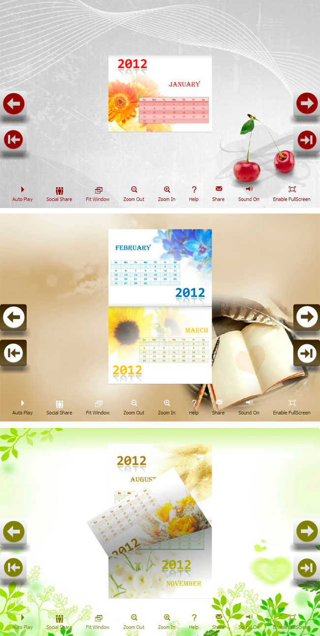 calendar pretty theme package for flip programs provides